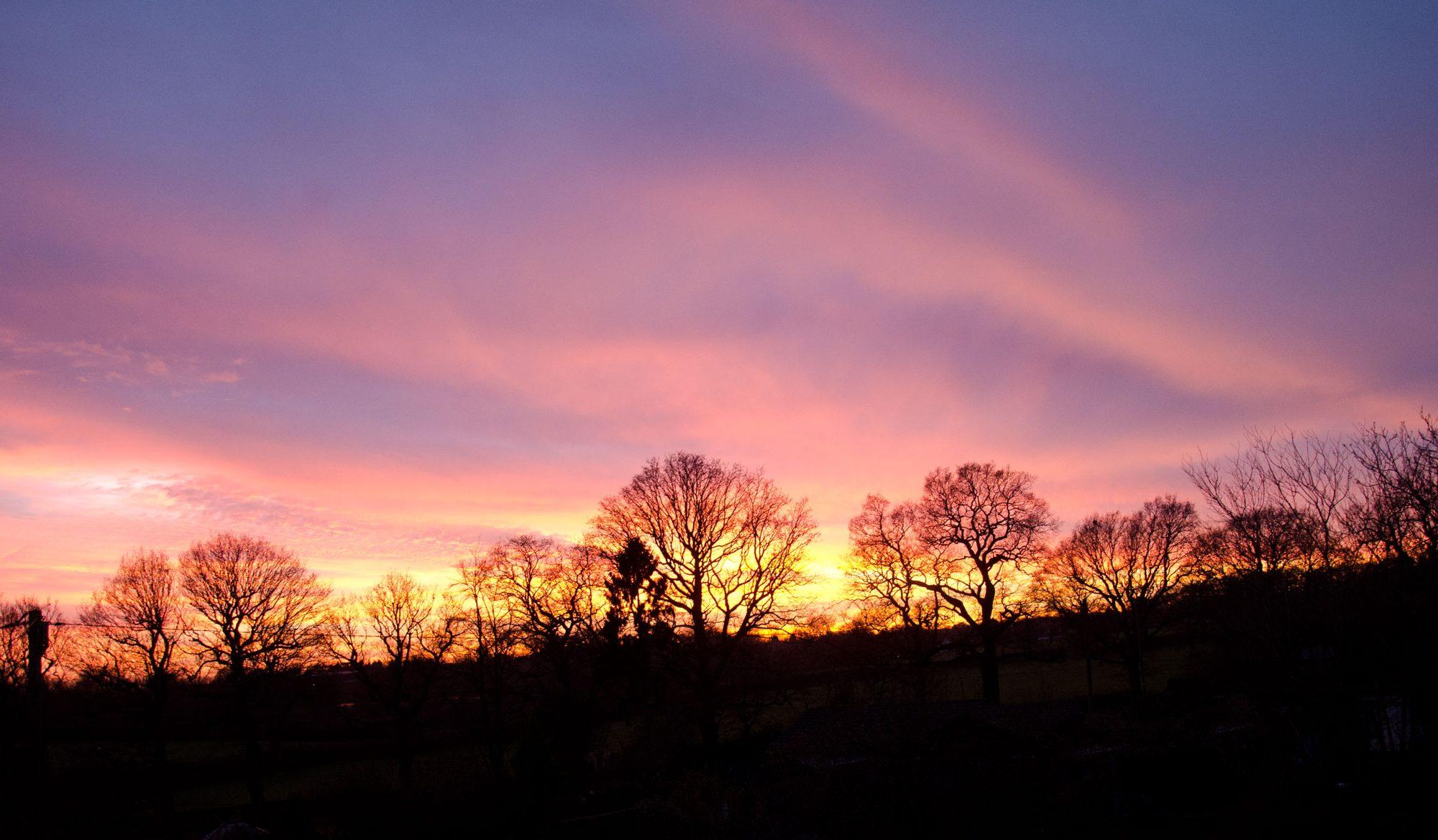 Photo Winter Sunset over Hogspudding Lane © Chris Collis