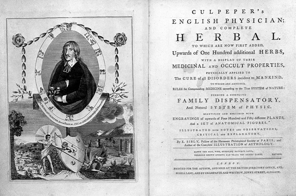 Culpeper's English physician and complete herbal...1789 Credit: Wellcome Library, London. Wellcome Images images@wellcome.ac.uk http://wellcomeimages.org Title page and frontispiece portrait from Culpeper's 'English physician...' 18th Century Culpeper's English physician; and complete herbal. Nicholas Culpeper Published: 1789 Copyrighted work available under Creative Commons Attribution only licence CC BY 4.0 http://creativecommons.org/licenses/by/4.0/
